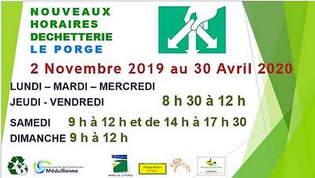 02 11 2019 MAIRIE WEB LE PORGE DECHETTERIE HORAIRES HIVER