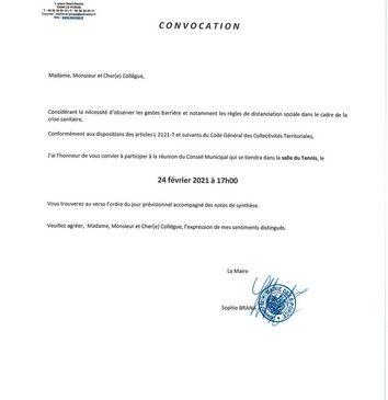 19 02 2021 MAIRIE LE PORGE CONSEIL MUNICIPAL LE 24 02 2021 CONVOCATION