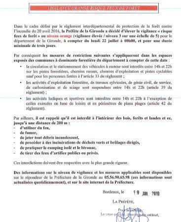 19 07 2019 ARRETE PREFECTORAL VIGILANCE ORANGE RISQUE INCENDIE FEUX DE FORET