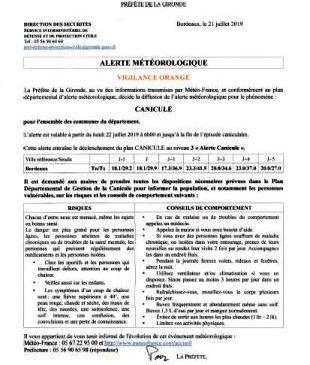 21 07 2019 ARRETE PREFECTURE ALERTE ORANGE CANICULE LE PORGE GIRONDE