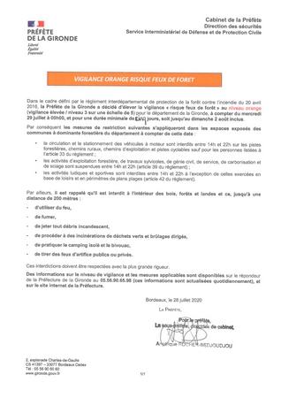 29 07 2020 GIRONDE PREFECTURE WEB LE PORGE VIGILANCE ORANGE RISQUE FEUX DE FORET