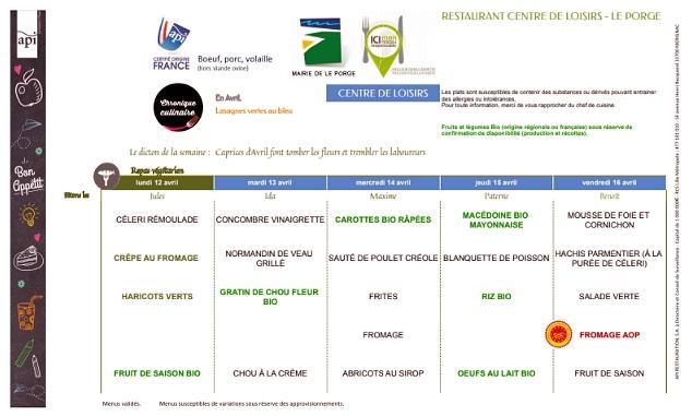 CANTINE RESTAURANT SCOLAIRE 12 AU 16 AVRIL 2021 LE PORGE MAIRIE