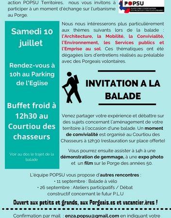 Le Porge POPSU BALADE 10 JUILLET 2021 INVITATION