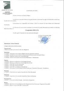 MAIRIE DE LE PORGE Ordre du Jour CONSEIL MUNICIPAL LE 15 SEPTEBRE 2020 PAGE 1