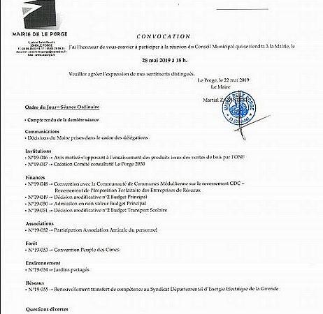 MAIRIE LE PORGE CONSEIL MUNICIPAL LE 28 05 2019 ORDRE DU JOUR
