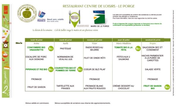 MAIRIE LE PORGE MENUS RESTAURANT SCOLAIRE 19 07 AU 23 07 2021
