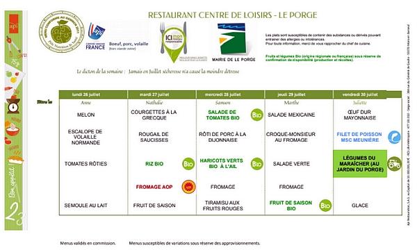 MAIRIE LE PORGE MENUS RESTAURANT SCOLAIRE 26 07 AU 30 07 2021