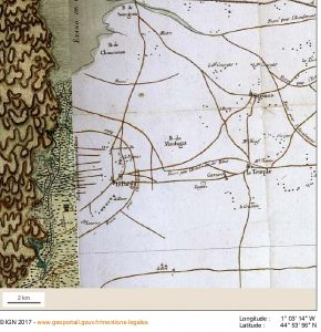 LE PORGE HISTOIRE CARTE DE CASSINI 1750 COPYRIGHT IGN GEOPORTAIL