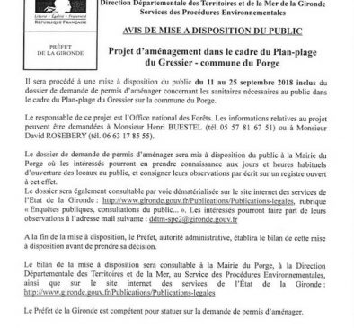 MAIRIE LE PORGE AVIS DE MISE A DISPOSITION DU PUBLIC LE 29 08 2018 P1