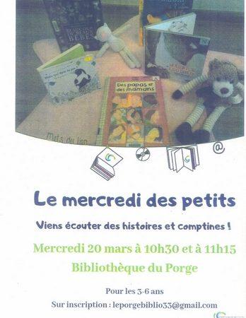 2019 03 20 BIBLIOTHEQUE MUNICIPALE LE PORGE LE MERCREDI DES PETITS