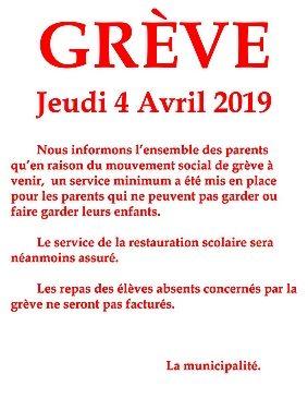 04 04 2019 MAIRIE LE PORGE INFO GREVE ECOLE JEAN DEGOUL PRIMAIRE WEB