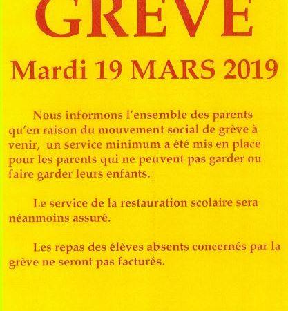 2019 03 19 MAIRIE LE PORGE AVIS DE GREVE ECOLE JEAN DEGOUL