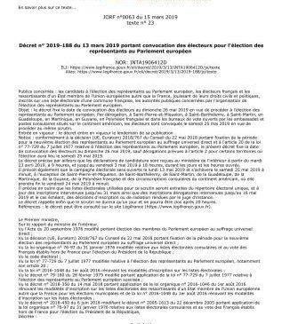 MAIRIE LE PORGE DECRET CONVOCATION ELECTEURS POUR PARLEMENT EUROPEEN P1