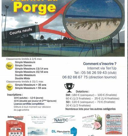 05 08 2021 au 22 08 2021 AS TENNIS CLUB LE PORGE TOURNOI DE TENNIS