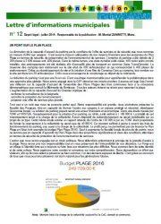 24 07 2019 LETTRE INFORMATIONS MUNICIPALES N° 12 MAIRIE LE PORGE P 1