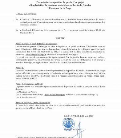 22 08 2019 ARRETE DU MAIRE Portant mise à disposition du public d'un projet d'implantation de structures modulaires sur le site du Gressier
