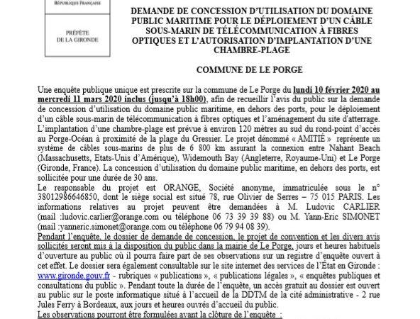 02 2020 MAIRIE LE PORGE AVIS ENQUETE PUBLIQUE PREFECTURE GIRONDE DDTM EXTRAIT