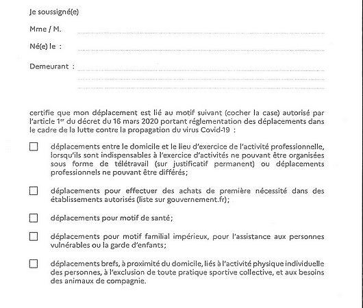 17 03 2020 ATTESTATION DE DEPLACEMENT DEROGATOIRE COVID 19 MAIRIE LE PORGE
