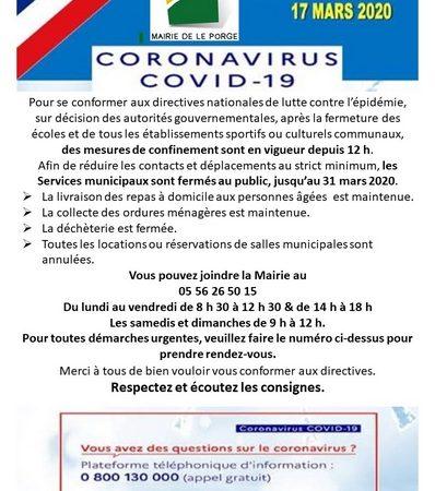 17 03 2020 MAIRIE LE PORGE WEB COMMUNIQUE 14 H 30 SERVICE MINI 7 J SUR 7