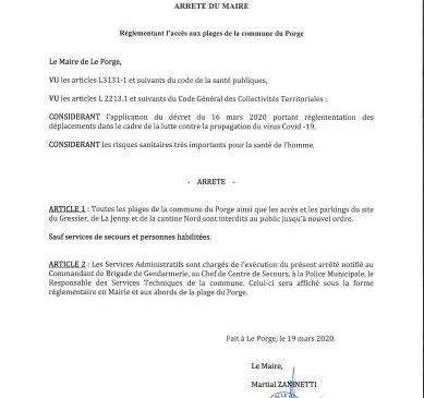 19 03 2020 ARRETE DU MAIRE COMMUNE DE LE PORGE 33680 GIRONDE NOUVELLE AQUITAINE