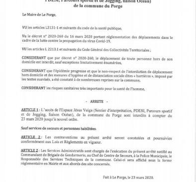 23-03-2020-LE PORGE ARRETE-DU-MAIRE-INTERDICTION-ESPACE-JESUS-VEIGA-ET-LIAISON-OCEAN-COVID-19