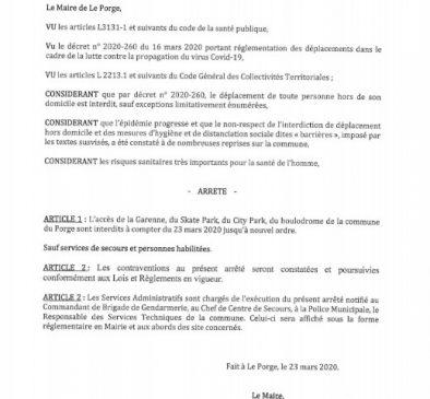 23 03 2020 LE PORGE ARRETE DU MAIRE INTERDICTION ESPACE GARENNE COVID 19
