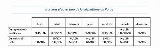 Dechetterie Le Porge Medullienne HORAIRES 2020