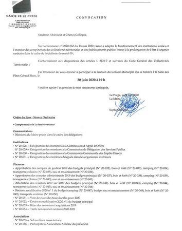 MAIRIE LE PORGE CM LE 30 06 2020 Ordre du Jour_0001