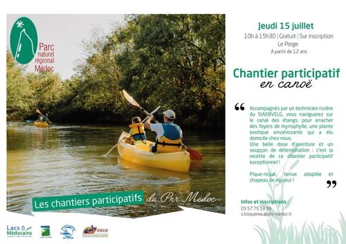 15 07 2021 LE PORGE PNR MEDOC Chantier participatif en canoe