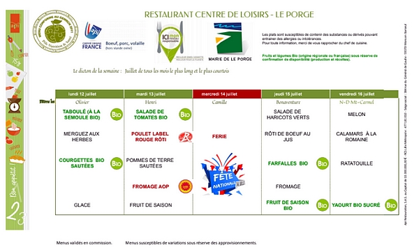 MAIRIE LE PORGE MENUS RESTAURANT SCOLAIRE 12 07 AU 16 07 2021