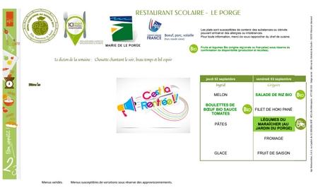 02 09 2021 CANTINE RESTAURANT SCOLAIRE LE PORGE ECOLE JEAN DEGOUL MENUS