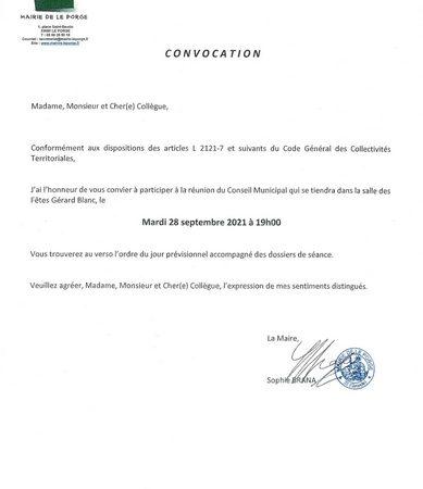 23 09 2021 Convocation Conseil municipal du 28 09 2021 MAIRIE LE PORGE