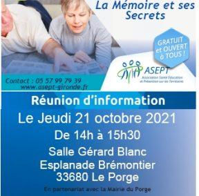 21 10 2021 information reunion le porge salle des fetes bien vieillir et la memoire